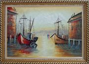 Fishing Boats Parks on Port Village Oil Painting Naturalism Exquisite Gold Wood Frame 30 x 42 inches