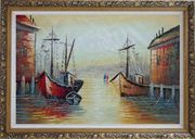 Fishing Boats Parks on Port Village Oil Painting Naturalism Ornate Antique Dark Gold Wood Frame 30 x 42 inches