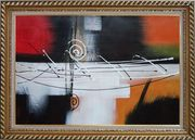 Harmonious Rhythm Oil Painting Nonobjective Decorative Exquisite Gold Wood Frame 30 x 42 inches