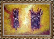 Two Bundles Of Firewood Oil Painting Still Life Modern Exquisite Gold Wood Frame 30 x 42 inches