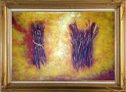 Two Bundles Of Firewood Oil Painting Still Life Modern Gold Wood Frame with Deco Corners 31 x 43 inches