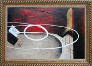 White Circle Lines in Black, Red and Sand Background Oil Painting Nonobjective Decorative Exquisite Gold Wood Frame 30 x 42 inches