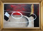 White Circle Lines in Black, Red and Sand Background Oil Painting Nonobjective Decorative Gold Wood Frame with Deco Corners 31 x 43 inches