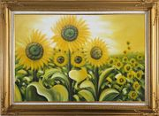 Glorious Sunflower Field Oil Painting Landscape Naturalism Gold Wood Frame with Deco Corners 31 x 43 inches