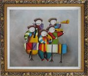 Musical Band Oil Painting Portraits Musician Modern Ornate Antique Dark Gold Wood Frame 26 x 30 inches