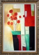 Red Blooming Flowers Oil Painting Decorative Ornate Antique Dark Gold Wood Frame 42 x 30 inches
