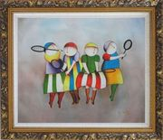 Tennis Players Oil Painting Portraits Modern Ornate Antique Dark Gold Wood Frame 26 x 30 inches