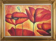 Fire Red Flowers In Yellow And Red Background Oil Painting Modern Gold Wood Frame with Deco Corners 31 x 43 inches