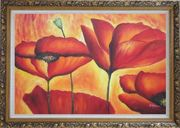 Fire Red Flowers In Yellow And Red Background Oil Painting Modern Ornate Antique Dark Gold Wood Frame 30 x 42 inches