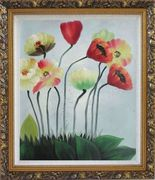 Lovely Flowers in Various Colors Oil Painting Decorative Ornate Antique Dark Gold Wood Frame 30 x 26 inches