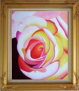 Fresh Blooming Pink Rose Painting Oil Flower Naturalism Gold Wood Frame with Deco Corners 31 x 27 inches