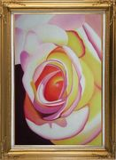 Fresh Blooming Pink Rose Painting Oil Flower Naturalism Gold Wood Frame with Deco Corners 43 x 31 inches