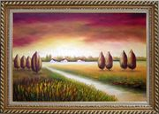 Path to a Village Oil Painting Landscape Tree Modern Exquisite Gold Wood Frame 30 x 42 inches