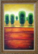 Red Soil Painting Landscape Tree Modern Exquisite Gold Wood Frame 42 x 30 inches