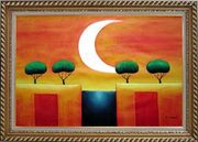 Four Modern Green Trees in Moonlight Oil Painting Landscape Exquisite Gold Wood Frame 30 x 42 inches