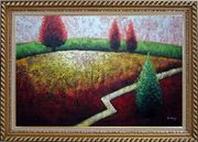 Contemporary Tree Landscape Oil Painting Modern Exquisite Gold Wood Frame 30 x 42 inches