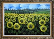 Endless Yellow Sunflower Field Oil Painting Landscape Naturalism Ornate Antique Dark Gold Wood Frame 30 x 42 inches