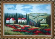 Tuscany Landscape Scene Oil Painting Field Italy Naturalism Exquisite Gold Wood Frame 30 x 42 inches