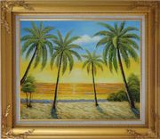 Seashore Palm Trees on Sunset Oil Painting Seascape America Naturalism Gold Wood Frame with Deco Corners 27 x 31 inches