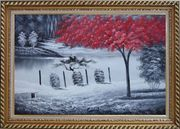 Red Tree in Black and White Landscape Oil Painting Naturalism Exquisite Gold Wood Frame 30 x 42 inches
