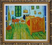 Vincent's Bedroom in Arles, Van Gogh Oil Painting Cityscape France Post Impressionism Ornate Antique Dark Gold Wood Frame 26 x 30 inches
