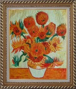 Sunflowers, Van Gogh Reproduction Oil Painting Still Life Post Impressionism Exquisite Gold Wood Frame 30 x 26 inches