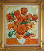 Sunflowers, Van Gogh Reproduction Oil Painting Still Life Post Impressionism Gold Wood Frame with Deco Corners 31 x 27 inches