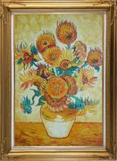 Sunflowers, Van Gogh Reproduction Oil Painting Still Life Post Impressionism Gold Wood Frame with Deco Corners 43 x 31 inches