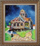 Church at Auvers, Van Gogh Reproduction Oil Painting Garden France Post Impressionism Exquisite Gold Wood Frame 30 x 26 inches
