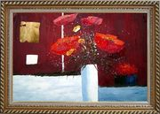 Red Anemone Flowers in White Vase Abstract Oil Painting Modern Exquisite Gold Wood Frame 30 x 42 inches