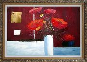 Red Anemone Flowers in White Vase Abstract Oil Painting Modern Ornate Antique Dark Gold Wood Frame 30 x 42 inches
