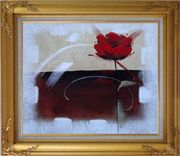 Abstract Red Rose Oil Painting Flower Modern Gold Wood Frame with Deco Corners 27 x 31 inches