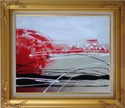 Red, White and Black Abstract Oil Painting Nonobjective Decorative Gold Wood Frame with Deco Corners 27 x 31 inches