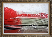 Red, White and Black Abstract Oil Painting Nonobjective Decorative Ornate Antique Dark Gold Wood Frame 30 x 42 inches