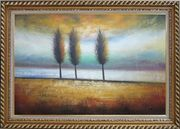 Three Trees Abstract Oil Painting Landscape Decorative Exquisite Gold Wood Frame 30 x 42 inches