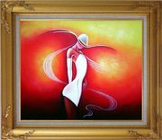 Girl with White Skirt in Red background Oil Painting Portraits Woman Dancer Modern Gold Wood Frame with Deco Corners 27 x 31 inches
