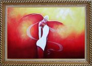 Girl with White Skirt in Red Background Oil Painting Portraits Woman Dancer Modern Exquisite Gold Wood Frame 30 x 42 inches