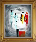 Four Ladies Abstract Oil Painting Portraits Woman Modern Gold Wood Frame with Deco Corners 31 x 27 inches