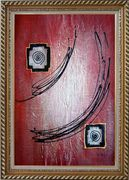Black Lines in Red Abstract Oil Painting Nonobjective Modern Exquisite Gold Wood Frame 42 x 30 inches
