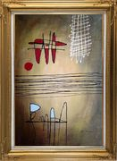 Lines Mixture Abstract Oil Painting Nonobjective Modern Gold Wood Frame with Deco Corners 43 x 31 inches