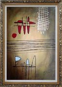 Lines Mixture Abstract Oil Painting Nonobjective Modern Ornate Antique Dark Gold Wood Frame 42 x 30 inches