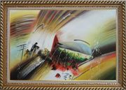 Powerful Movement Oil Painting Nonobjective Decorative Exquisite Gold Wood Frame 30 x 42 inches