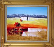 Modern Landscape Oil Painting Gold Wood Frame with Deco Corners 27 x 31 inches