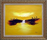 Abstract Waterfall Skyscapes Oil Painting Landscape Autumn Modern Exquisite Gold Wood Frame 26 x 30 inches