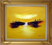 Abstract Waterfall Skyscapes Oil Painting Landscape Autumn Modern Gold Wood Frame with Deco Corners 27 x 31 inches