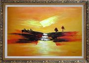 Abstract Waterfall Skyscapes Oil Painting Landscape Autumn Modern Ornate Antique Dark Gold Wood Frame 30 x 42 inches