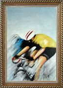 Racing Bicyclist Oil Painting Portraits Cycling Modern Exquisite Gold Wood Frame 42 x 30 inches