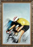 Racing Bicyclist Oil Painting Portraits Cycling Modern Ornate Antique Dark Gold Wood Frame 42 x 30 inches