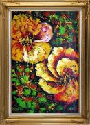 Gorgeous Blooming Yellow Flowers Oil Painting Modern Gold Wood Frame with Deco Corners 43 x 31 inches