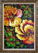 Gorgeous Blooming Yellow Flowers Oil Painting Modern Ornate Antique Dark Gold Wood Frame 42 x 30 inches